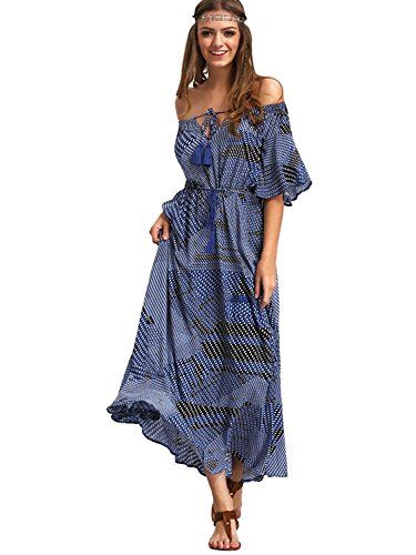 Milumia Womens Boho Off The Shoulder Swing Maxi Dress