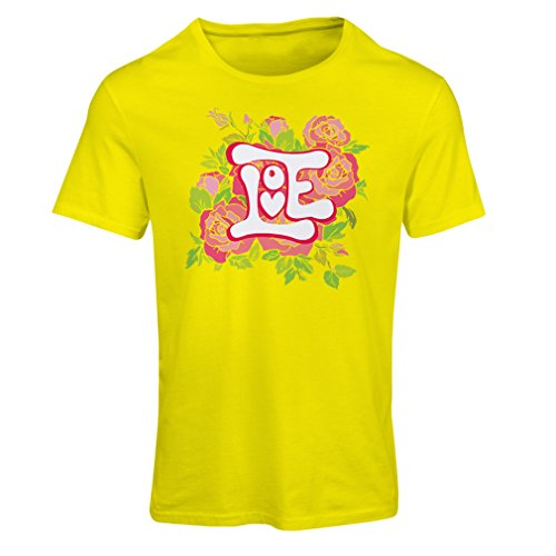 "T shirts for women ""Love me"" Valentine day gifts idea (X-Large Yellow Multi Color)"
