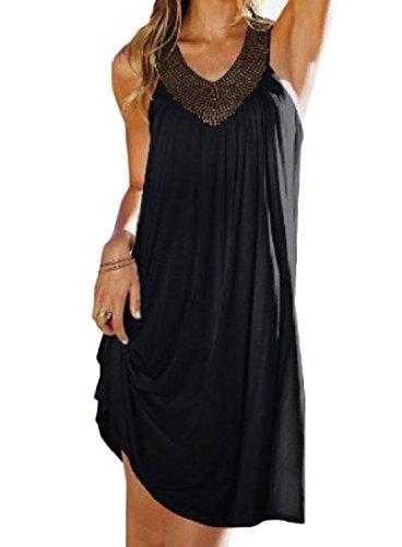 Coolred-femmes Épissage Couleur Sans Manches Cou Style V Baggy Pur Robes Décontractées Noir
