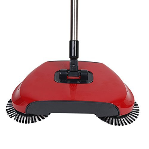 360 Degree Rotating Household Automatic Hand Push Sweeper Broom, Multi-Functional Profession Vacuum Cleaner Sweeping Robot without Electricity, 3 in 1 Dustpan and Trash Bin Floor Cleaning System (red) by YOUBEST