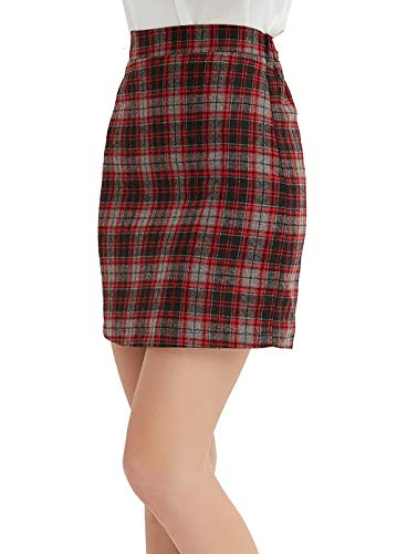 - GUANYY Women's Casual Plaid Skirt Bodycon Pencil Mini Skirt(Red,X-Large)