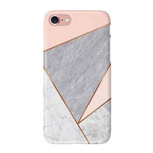 uCOLOR Case Compatible with iPhone 6S 6 iPhone 8/7 Cute Protective Matt Case Rose Pink White Grey Marble Triangle Slim Soft TPU Silicon Shockproof Cover Compatible iPhone 6s/6/7/8(4.7