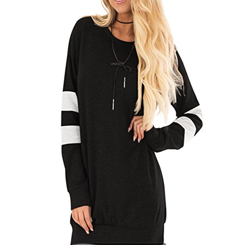 Womens Fitted Lightweight Peacoat (HUHHRRY Women Cotton Knitted Long Sleeve Lightweight Tunic Sweatshirt Tops Black XX-Large)