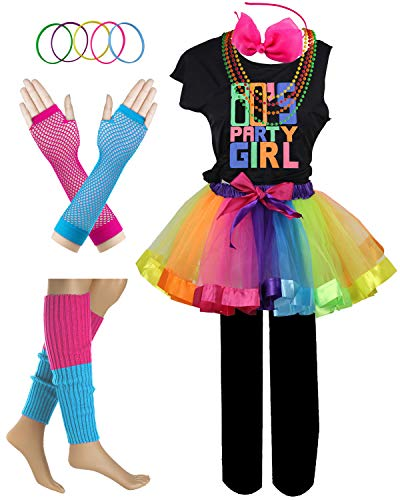 Valley Girl Costumes (I Love 80s Pop Party Rock Star Child Girl's Costume Accessories Fancy Outfits (7-8, Party Girl)