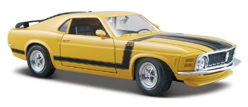Maisto 1/24 Scale Diecast Custom Shop 1970 Ford Mustang Boss 302 in Color Yellow - Maisto Custom Shop