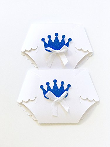 Royal Prince Invitations Baby Shower 10 pcs - Diaper Shaped Invitations - Free Envelopes (Shower Prince Baby Invitations)