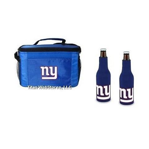 NFL Football Team Logo 6 Pack Tailgating Cooler and Neoprene Bottle Suits Gift Set (Giants)
