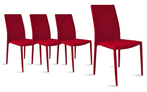 Divano Roma Furniture Dining Room Chairs Set of 4, Fabric Chair for Living Room 4 Pieces (Red)