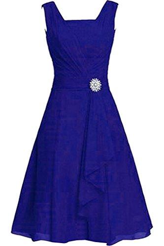 Braut Zwei Ballkleider Damen mia Kleider Kurz Einfach Royal La Knielang Abendkleider Chiffon Traeger Blau Orange Partykleider w4xXa