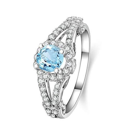 Aokarry - Womens Silver Rings 925Engagement Rings Blue Created-Topaz December Birthstone Size 9