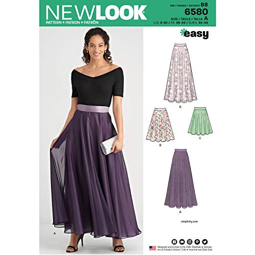 NEW LOOK Sewing Pattern 6580 - Misses' Circle Skirt, A(8-10-12-14-16-18-20)