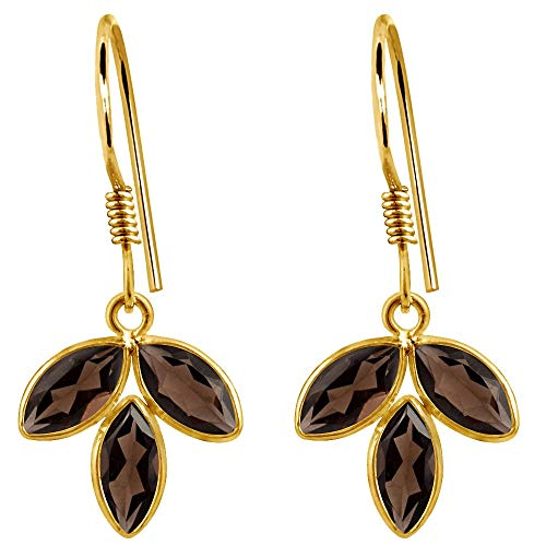 5.88 Ct Smoky Quartz 14k Yellow Gold Over Sterling Silver Leaf Dangle Earrings