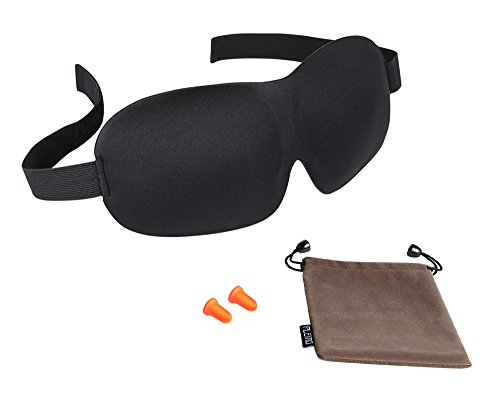 Plemo Sleep Mask & Ear Plugs, Ultra Soft Breathable Contoured Eye Shade & Foam Earplugs with Carry Pouch for Bedtime, Travel, Shift Work & (Foam Latex Mask)