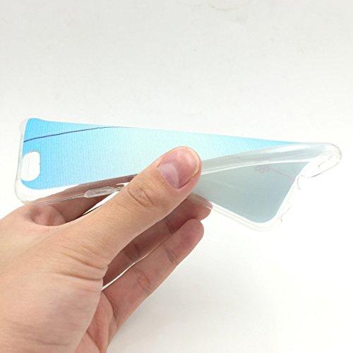 König-Shop Handy Hülle + 1x Panzerglas für Apple iPhone 6 / 6s Cover Case Schutz Tasche Motiv Slim Silikon Etui TPU Motiv Schriftzug Be Happy Blau