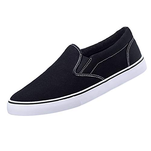 CAMEL CROWN Men's Canvas Loafer Sneaker Classic Slip on Skate Shoes Low-Top Tennis Shoes(Black,7 D(M) US)