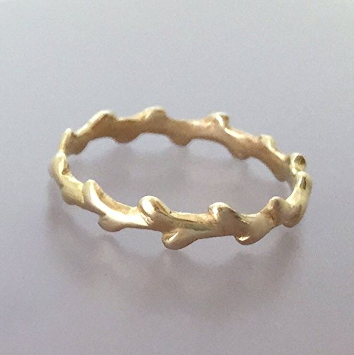 Custom Order (Rush) Laurel Branch Wedding Ring in 14k Yellow Gold
