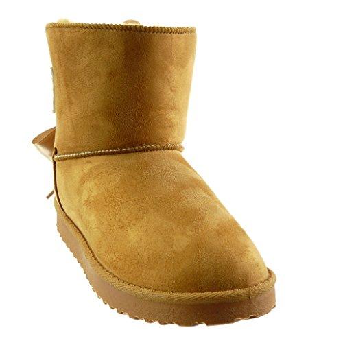 Satin Damenmode Schuhe Booty Absatz 5 CM 2 Camel Schneestiefel Ankle Boots Angkorly Flacher qUYxZdRwY