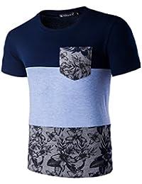 Allegra K Men Crew Neck Short Sleeves Patch Pocket Floral Print Color Block Tee
