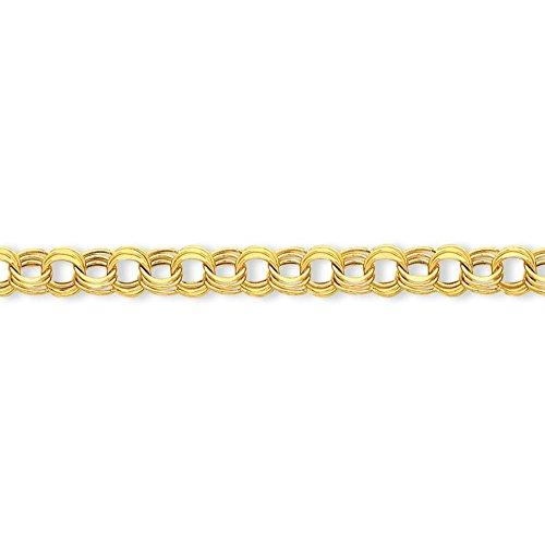 14 carats Lite 9,5 Triple Link Bracelet à breloque 21 cm-Fermoir mousqueton-JewelryWeb