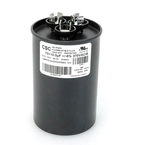 43-26271-47 -Rheem OEM Round Replacement Dual Run Capacitor 70 + 10 UF/MFD 370 Volt by OEM Replm for Rheem