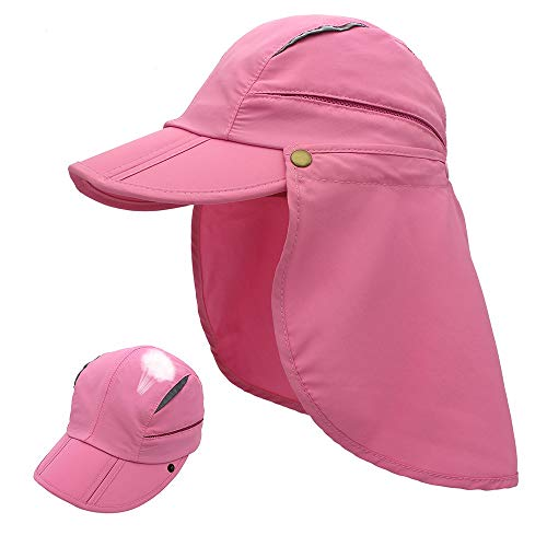 Outdoor Sun Protection Hat Quick Dry Sun Caps Portable UV SPF 50+ Baseball Cap with Neck Flap Cover for Kids & Women & Men (Pink, S(for Kids))