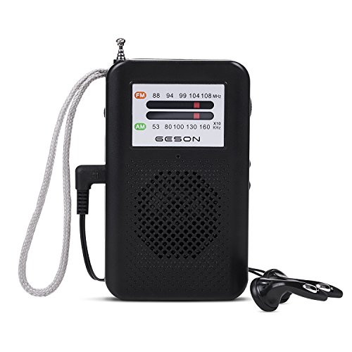 AM/FM Portable Radio, Geson AM FM 2-Band Pocket Radios Receiver Operated by 2 AA Batteries, Stereo Earphone Included