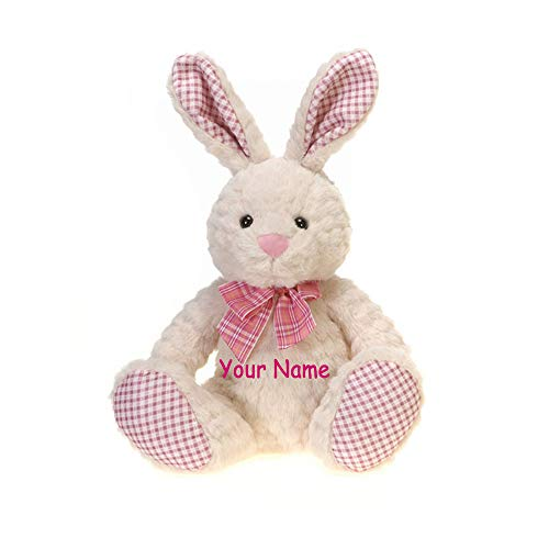 Fiesta Toys Personalized Pink Plaid Sitting Easter Bunny with Colorful Bow for Girls Plush Stuffed Animal Toy with Custom Name ()