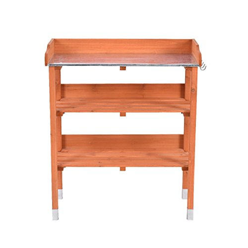 Garden Wooden Potting Bench Work Station with Hook - By Choice Products by By Choice Products
