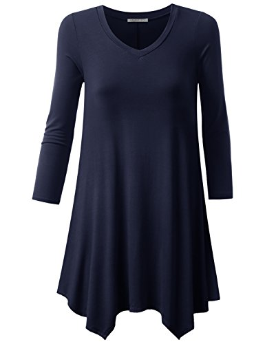 URBANCLEO Womens 3/4 Sleeve V-Neck Tunic Top Long T-Shirt Navy Medium