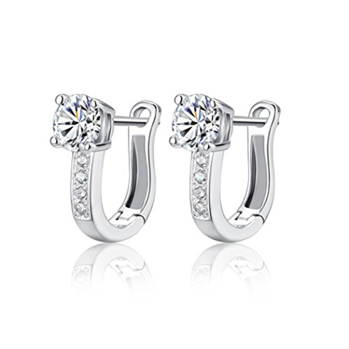 Elegant Moments Vinyl Collection (Time Pawnshop Elegant Simple U-shaped Sterling Silver Cubic Zirconia Lady Hoop Earrings)