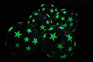 11 Inch Glow in the Dark Star Latex Balloons- 25 pack