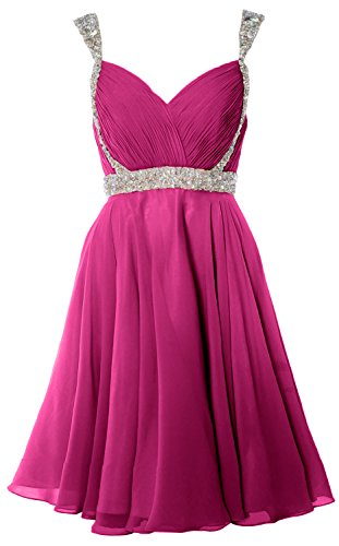 MACloth Women Crystals Straps Short Prom Homecoming Dress 2017 Formal Gown Fuchsia