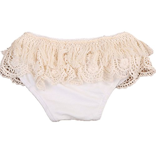 ONE's Baby Girls Bloomer Toddlers Lace Ruffle Frilly Nappy Cover Short Pant Tulle Pettiskirt (White, 6-12 Months) -