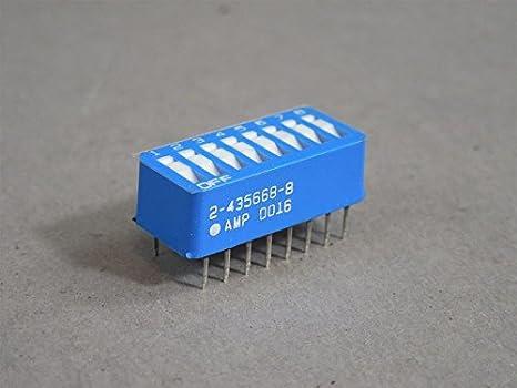 AMP 8 Position DIP Switch 2-435668-8 10 pcs Low Profile Flush Rocker Blue FS