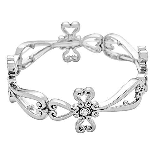 Rosemarie Collections Women's Religious Cross Stretch Bracelet (Silver)