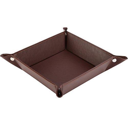 HappyDavid Leather Bedside Storage Tray, 1-Coffee (Bedside Tray)