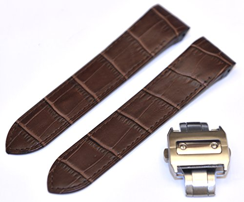 23mm Brown leather Band Strap with Clasp replacement for Cartier Santos 100XL