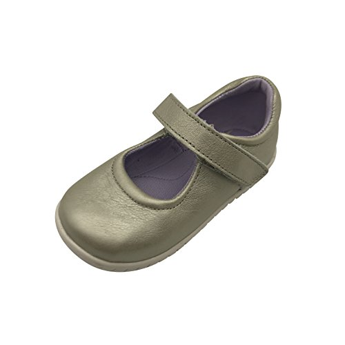 Xielong Girls Canvas Toddler Mary Jane Flat Anti-Slip First Walker Leather Shoes Gold 7M (Gold Leather Toddler Footwear)