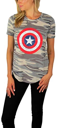 Womens Captain America Distressed Logo Tee Camouflage (Camouflage, Small)