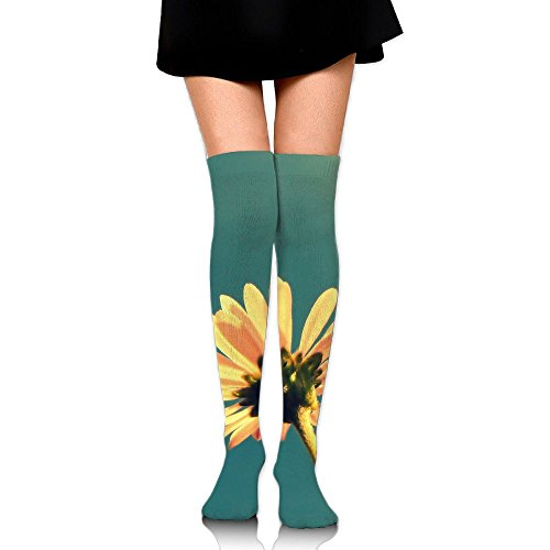 Yellow Flowers Over The Knee Long Socks Tube Thigh-High Sock Stockings For Girls & Womens -
