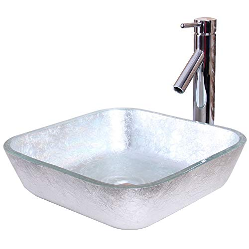 ELITE Crystal Glass Square Artistic Silver Tempered Glass Bathroom Vessel Sink & Chrome Finish Faucet Combo Crystal Tempered Glass Vessel