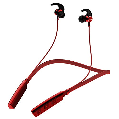 boAt Rockerz 235V2 Wireless Headset with ASAP Charge Technology, Immersive Audio, Up to 8H Playback, Bluetooth V5.0, Call Vibration Alert, Magnetic Eartips and IPX5 Water & Sweat Resistance (Red)