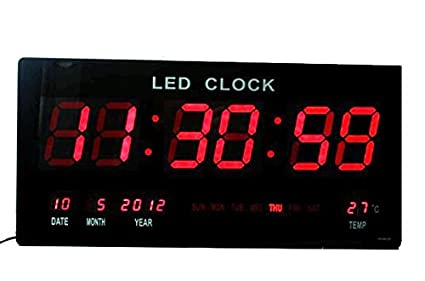 Reloj digital pared medidor temperatura calendario fecha dia semana led rojo 220v