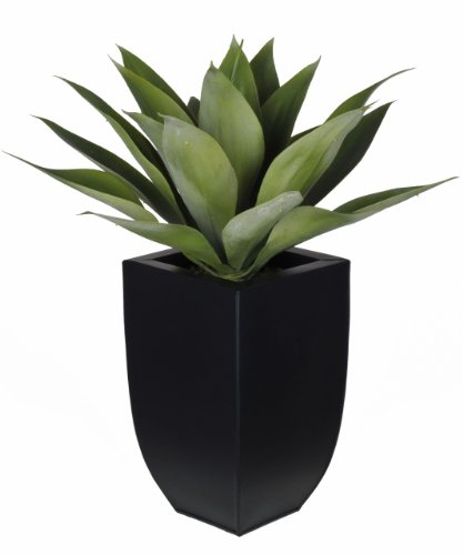 House of Silk Flowers Artificial Tabletop Agave in Black Zinc Vase