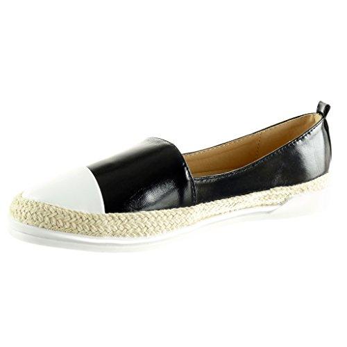 Cm 3 Chaussure Slip Mocassin Semelle Angkorly Basket Espadrille on Corde Brillant Noir Femme Plat Mode Talon 6qTxWTwdO