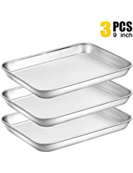 Baking Sheet Pan for Toaster Oven, Stainless Steel Baking Pans Small Metal Cookie Sheets by Umite Chef, Superior Mirror Finish Easy Clean, Dishwasher Safe, 9 x 7 x 1 inch, 3 Piece/set …