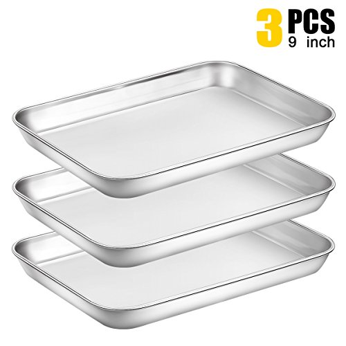 Baking Sheet Pan for Toaster Oven, Stainless Steel Baking Pans Small Metal Cookie Sheets by Umite Chef, Superior Mirror Finish Easy Clean, Dishwasher Safe, 9 x 7 x 1 inch, 3 Piece/set … by Umite Chef (Image #7)