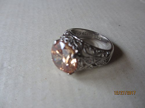 Rare Stunning Vintage Sterling .925 CZ Signed ESPO Jubilee Ring, Vintage Champagne Cubic Zirconia Ring, Sterling silver Vintage Ring, Maid Honor
