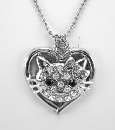 [cat necklace animal pendant spirit jade charms turquoise stainless steel good luck,white 116