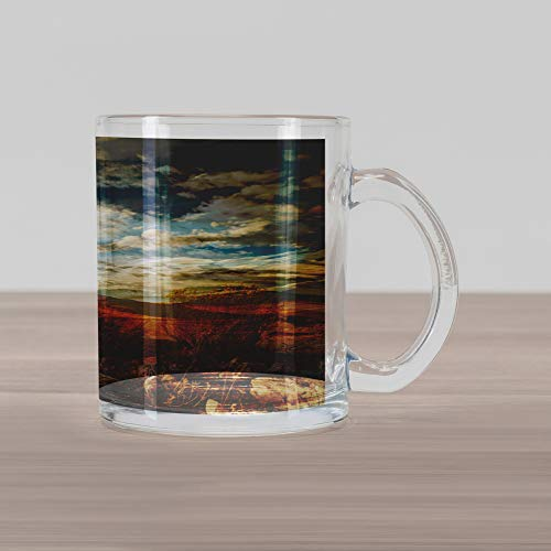 (Lunarable Landscape Glass Mug, Prairie Hot USA Mississippi River Valley with Idyllic Summer Season View Image, Printed Clear Glass Coffee Mug Cup for Beverages Water Tea Drinks, Orange Blue)